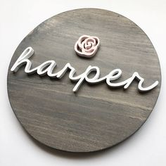 This would make a great baby shower gift for a new mom! Wooden Name Board - Wood Name Sign - CIRCLE - Custom Wall Art - Nursery Decor - Personalized Wood Name Sign, Wood Names, Wood Letters, Name Signs, Nursery Wall Decor, Nursery Themes, Nursery Art, Girl Nursery, Nursery Ideas