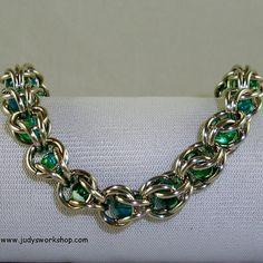 Captured Aqua Beaded Chainmaille Bracelet by JudysWorkshopdotcom