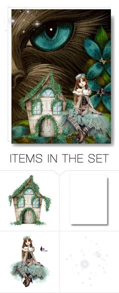 """""""Cottage In The Woods"""" by catfabricsandbuttons ❤ liked on Polyvore featuring art and cottage"""