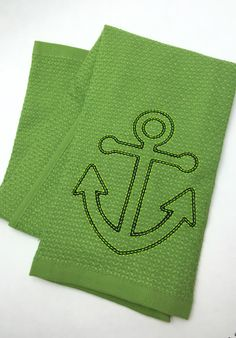 A personal favorite from my Etsy shop https://www.etsy.com/listing/468742349/green-anchor-hand-towel-nautical-dish