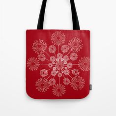 Red floral tote Bag. Flowers.  In small / medium / by Narais