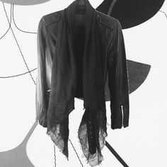 """HP All Saints Arnel Leather Jacket HP  1/1/16 """"2016 Trends Party"""" by @katralvin NWT Sold out in stores. Brand new, never worn All Saints distressed soft leather moto jacket. Attached asymmetrical draped linen scarf. Back belt, zippered pockets and sleeves. Sz 6 US / 10 UK. Additional measurements: Shoulder to shoulder 15.75"""", 16.75"""" armpit to armpit, 24.5"""" sleeve length, 22.5"""" neck to bottom of jacket. Tiny rub the size of a pinhead on the back right shoulder (hard to see). **No trades…"""
