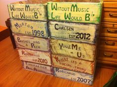 Pa made these distressed crate boxes for the kids, with some personalization on each one.....