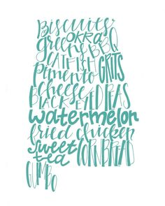 Calligraphy Alabama State Print, Southern Food, 8x10 print, various colors