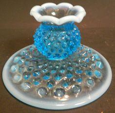 Vintage-Fenton-Blue-Opalescent-Hobnail-Candlestick-2-75-x-4-63-Excellent-Cond