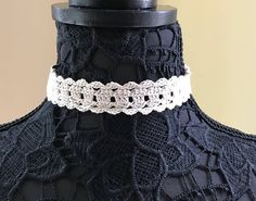 Cream Lace Choker Handmade Crochet No Metal Item N102