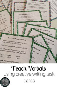 If your students enjoy quirky, funny writing prompts, they'll have fun responding to these task cards.  Great practice for incorporating verbals into their writing. Great for mini lessons, writing workshop, and creative writing.  Grammar in action!  #grammarlessons #writingworkshop