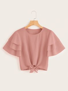 To find out about the Layered Sleeve Knot Hem Blouse at SHEIN, part of our latest Blouses ready to shop online today! Girls Fashion Clothes, Teen Fashion Outfits, Cute Fashion, Stylish Outfits, Girl Fashion, Girl Outfits, Off The Shoulder Top Outfit, Kids Dress Wear, Crop Top Outfits