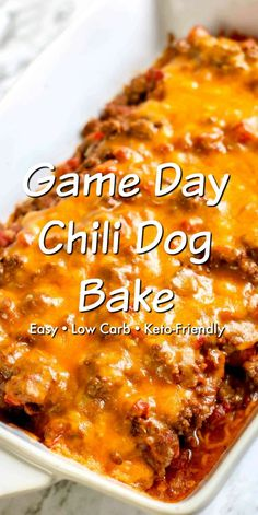 game day food This low carb Game Day Chili Dog Bake is perfect to feed a hungry game day crowd! Juicy hot dogs are wrapped in soft low carb tortillas and then topped with chili and cheese Best Low Carb Recipes, Hot Dog Recipes, Low Carb Dinner Recipes, Chili Recipes, Cooking Recipes, Low Carb Chili Recipe, Chilli Cheese Dogs, Chilli Cheese Dog Bake, Baked Chili Cheese Dogs