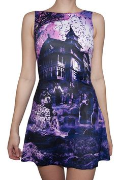 Haunted House Purple Play Dress (Size S) by Black Milk Clothing