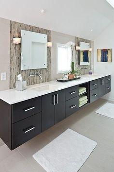 Floating vanity, tile, mirrors, lighting, lots of storage, open storage