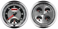 Monitor your vehicle in style with these precision Auto Meter American Muscle Series Gauges from OPGI. Gauges feature the muscle car look of the 1960s and 1970s with a brushed aluminum fascia and bold numbering. Each electric gauge also incorporates through-the-dial white L.E.D. lighting as well as a lighted pointer for enhanced viewing. Oil pressure and water temperature gauges include the correct sending units for a hassle-free installation. Sold individually or in complete sets to suit…