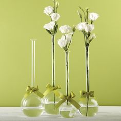 Two's Company Sleek And Chic Set of 4 Bubble Vases with Sage Green Ribbon Includes 4 Sizes - Hand-Blown Glass – Modish Store