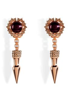 Mawi Rose Gold-Plated Spike and Cabouchon Pearl Earrings, $400; stylebop.com