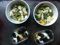 pattypan squash and broccoli (cooked in lots of olive oil and a little bit of water over high heat) with sour cream cilantro sauce and goat cheese, plus Greek yogurt with dark honey and blueberries for dessert.