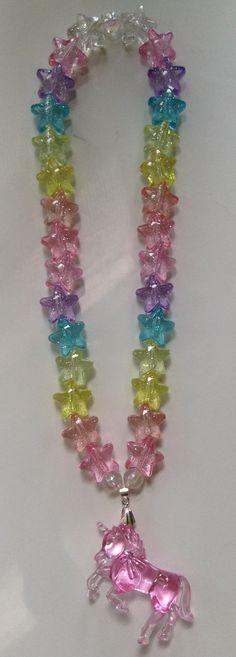 Pink Unicorn Necklace with Pastel Rainbow by SugarPopPartyShop