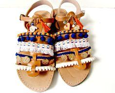Pompom gladiator sandals, Boho sandals, Blue and orange decorated with tassel sandals, Summer flats, Sunset in Santorini, Spartan sandals by dadahandmade on Etsy
