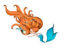 ~ Pretty Little Mermaid With Red Hair ɞ☀ Cute Illustration ~ Art And Illustration, Illustrations, Art Mignon, Mermaid Fairy, Mermaid Cove, Baby Mermaid, Mermaids And Mermen, Inspiration Art, Merfolk