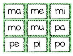 Tarjetas de silabas para recortar.