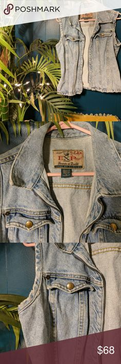 """Vintage EXP jeans by express denim vest Super rad denim vest from express size Medium ( would say could fit size small/medium but)from armpit to armpit is 17"""" from top of shoulder to bottom we have 21"""" .This vintage peice will top off all your summer looks so cute! Wear over dresses, wear with black destroyed shorts cool tank and boots! Wear over your bathing suit! It's a badass kinda thing 🎠🍓🗼🌈🍟 Express Jackets & Coats Vests"""