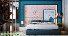 Colorful Bedroom Designs & Ideas Arty Bedroom, Blush Bedroom, Pink Headboard, Pink Bedding, Purple Bedrooms, Bedroom Colors, Luxurious Bedrooms, House Design, Interior Design