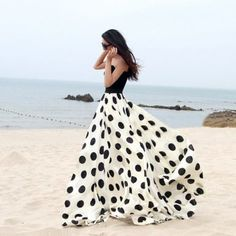 Charming Chiffon Polka Dot Pattern Long Maxi Skirts Black&White. lots of cool stuff on this site. no idea where i would wear this dress, but it's so cool!: