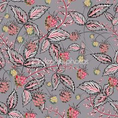 Colored raspberries seamless pattern. Seamless pattern with colored hand draw graphic raspberries in pink gray tone. Vector illustration. — Ilustracja stockowa #96670370