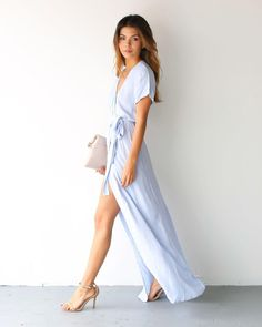 An absolutely gorgeous must have wrap dress. This stunning maxi is cut from the same gorgeous and breathable cloth as our printed Bardot Maxi. Our Solid Bardot Wrap Dress is versatile, chic, flattering Vestidos Azul Serenity, Colorful Outfits, Maxi Wrap Dress, Wrap Dresses, Wrap Dress Formal, White Wrap Dress, Fancy Maxi Dress, Wrap Dress Outfit, Prom Dress