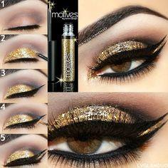 Sparkly gold by #lvglamduo using #motivescosmetics
