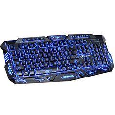 Backlit Gaming Keyboard BAVIER Laser Carving Characters KeyboardWired Backlighting Keyboard114keys Ergonomic Adjustable Backlight Red Purple