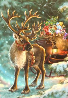 Dona Gelsinger Santa's Reindeer Sleigh Toy Bag (even 'tho Santa is not in this, it is to fabulous a picture not to include here!!)