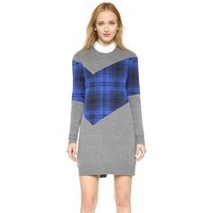 Thakoon Addition Plaid Combo Sweater Dress (730 CAD) ❤ liked on Polyvore featuring dresses, charcoal, shift dress, color block dress, long sleeve dresses, tartan dress and long sleeve sweater dress