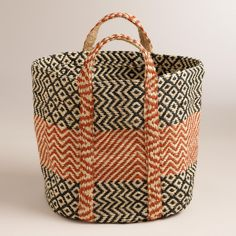 Red with Black Jute Storage Basket | World Market