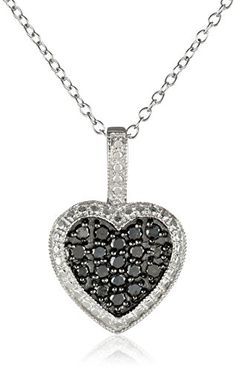Sterling Silver and Black Diamond Heart Pendant Necklace (1/2 cttw), 18″  http://stylexotic.com/sterling-silver-and-black-diamond-heart-pendant-necklace-12-cttw-18/