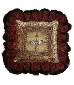 burgundy chenille and velvet cheetah with jeweled cross square ruffled pillow with jeweled cross and faux mink