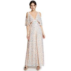 Temperley London Celestial Jumpsuit ($2,825) ❤ liked on Polyvore featuring jumpsuits, almond, open back jumpsuit, sequin jump suit, cutout jumpsuits, draped jumpsuit and wide leg jumpsuits