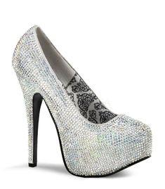 Teeze Silver Iridescent Rhinestone Platform Pump by Bordello Shoes