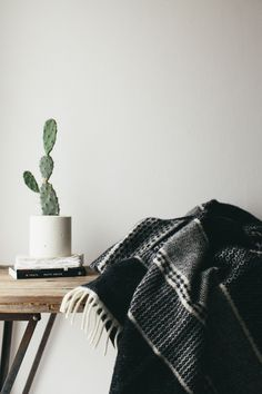 Nordic influenced folk patterns woven in black and ivory, Cacti in simple white concrete planters, simple accents in the modern bohemian home.