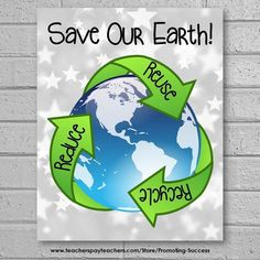 This printable Earth Day poster reminds students to save our planet by reducing, reusing and recycling. It works well in science classroom centers or stations for quick and easy classroom decor. The sign features a silver stars background, the planet, and the 3 R's to save the Earth:  Save Our Earth! Reduce   Reuse   Recycle  ★ Teacher Bright Idea ★ Have students brainstorm other ideas for saving our planet, They may create their own posters.