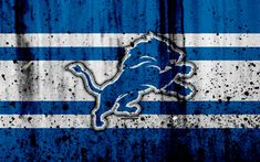 Download wallpapers 4k, Detroit Lions, grunge, NFL, american football, NFC, logo, USA, art, stone texture, North Division