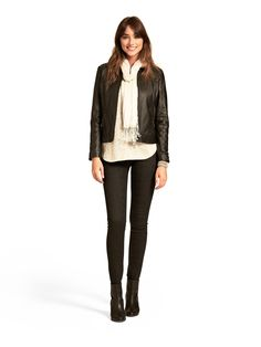 Angela Lurex Knit  Quilted Collarless Leather Jacket with Sylvia Super Skinny Jeans -