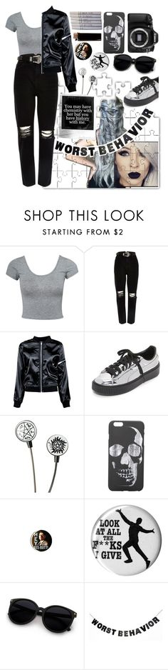 """""""On my worst behaviour"""" by xkitten-pokerx ❤ liked on Polyvore featuring Estradeur, River Island, Boohoo, Puma, Chanel, Eos and WALL"""