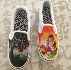 bf9f6877061e Items similar to Gone With the Wind Hand Painted Shoes - Gone With the Wind  - Scarlett O Hara - Classic Movies - Movies - Unique Gift on Etsy