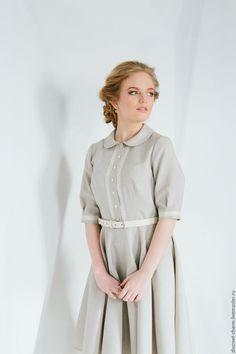 Купить Серое платье с кружевом, воротником и юбкой-солнце в интернет магазине на Ярмарке Мастеров