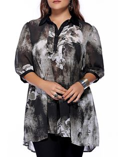 Plus Size Brief Ink Painting Buttoned Blouse