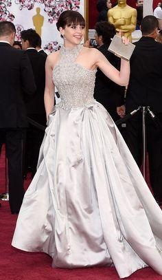 Felicity Jones Is Wearing Alexander McQueen on the Oscars 2015 Red Carpet.