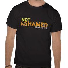 Not Ashamed Romans 1:16 Distressed Tee Shirt Men's