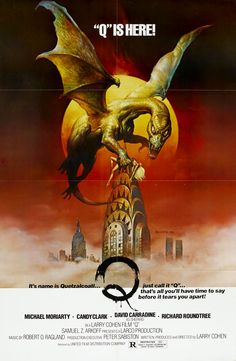 Q - one sheet poster - USA - Larry Cohen - Michael Moriarty - Boris Vallejo artwork - AKA The Winged Serpent Classic Movie Posters, Horror Movie Posters, Horror Films, Horror Fiction, Retro Posters, Classic Films, Pulp Fiction, Boris Vallejo, Larry Cohen