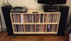 New IKEA Nornas record storage (and my set up with a brief description) Ikea Vinyl Storage, Cd Storage, Media Storage, Storage Ideas, Ikea Nornas, Vinyl Record Display, Ikea Units, Ikea New, Vinyls