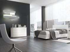Camera da letto moderna. Modern bedroom. Letto matrimoniale imbottito ...